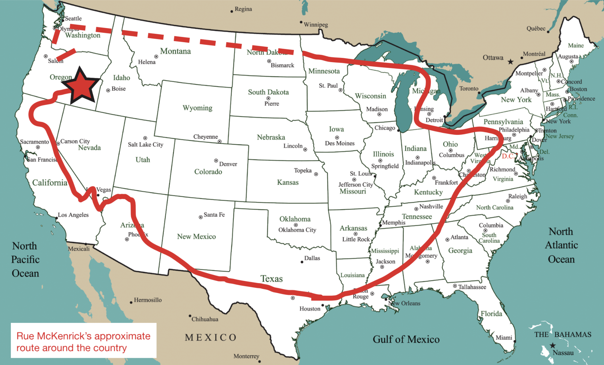 Map of the United States showing the planned American Perimeter Trail